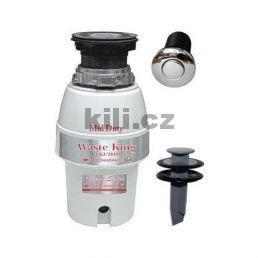 Drtič WKI Mid Duty 1/2 HP + pneu spínač nerez lesk + stěrka