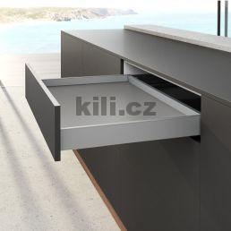 Kompletní zásuvka AvanTech YOU stříbrná 77 mm 500 mm plnovýsuv Quadro YOU 30 kg s tlumením